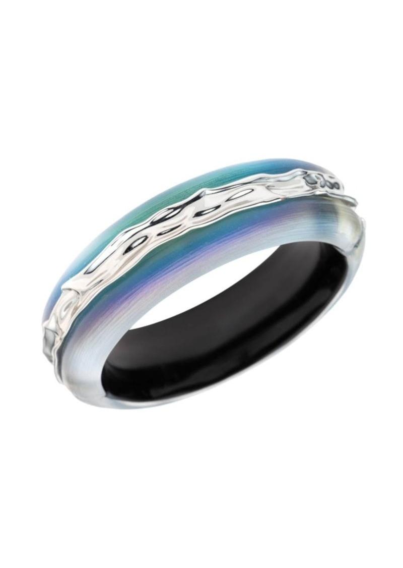 Alexis Bittar Crumpled Rhodium Inlay Hinge Bracelet