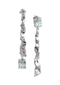 Alexis Bittar Crumpled Rhodium Mismatch Linear Post Earrings