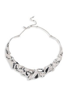 Alexis Bittar Crumpled Rhodium-Plated Collar Necklace