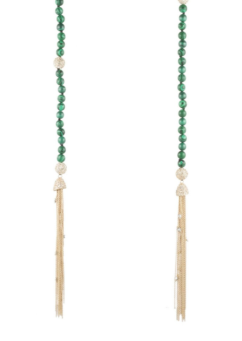 Alexis Bittar Crystal & Malachite Sautoir Tassel Necklace