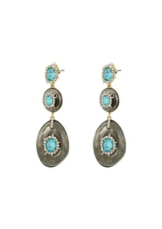 Alexis Bittar Crystal and Stone Studded Liquid Silk Dangling Post Earrings