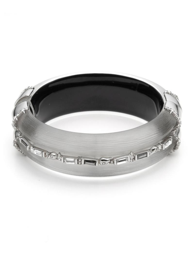 Alexis Bittar Crystal Baguette Hinge Bracelet  Gray