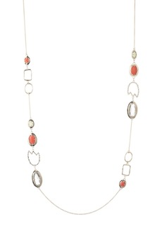 Alexis Bittar Crystal Encrusted Abstract Tulip Stone Station Necklace
