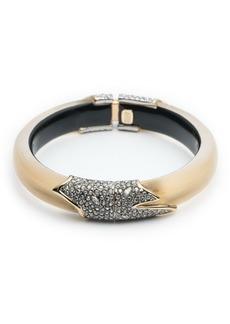 Alexis Bittar Crystal Encrusted Feather Hinge Bracelet  Golden