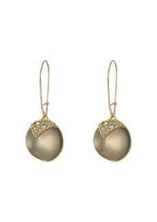 Alexis Bittar Crystal Encrusted Origami Inlay Dangling Sphere Kidney Wire Earrings