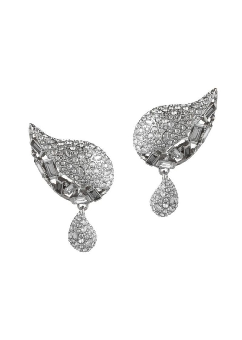 Alexis Bittar Swarovski Crystal Encrusted Paisley Button Clip-On Earrings