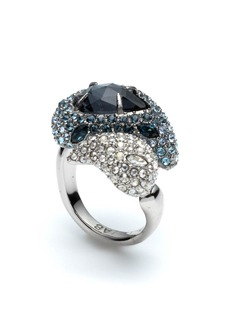 Alexis Bittar Crystal Encrusted Paisley Cocktail Ring  Size 6