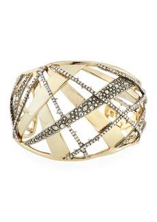 Alexis Bittar Crystal Encrusted Plaid Cuff Bracelet