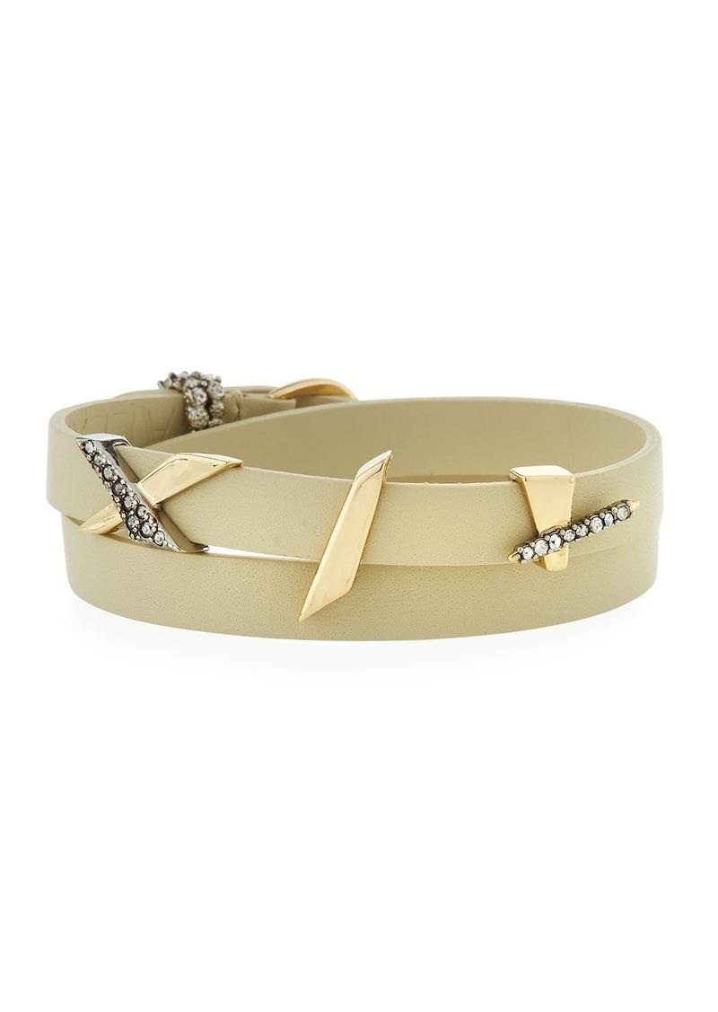 Alexis Bittar Crystal Encrusted Plaid Leather Wrap Bracelet