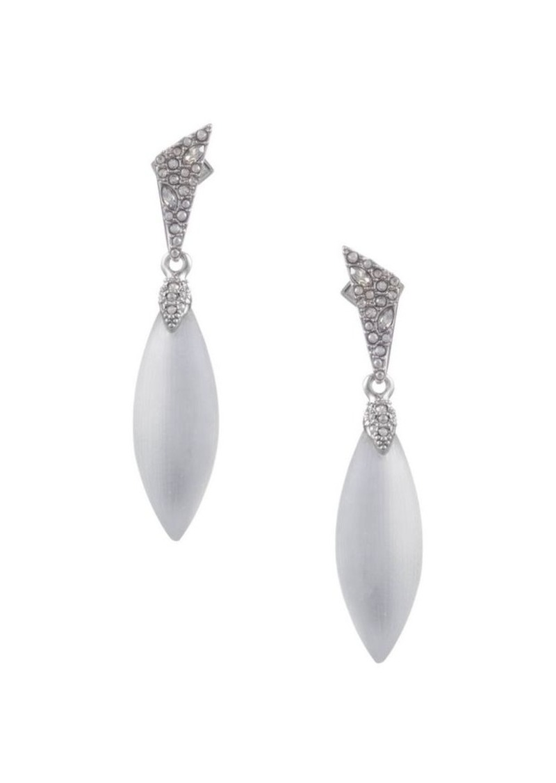 Alexis Bittar Crystal Encrusted Rhodium-Plated Dangling Post Earring
