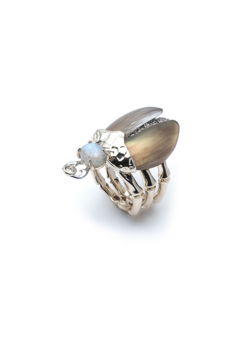 Alexis Bittar Crystal Encrusted Scarab Ring  Size 7