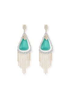 Alexis Bittar Crystal Encrusted Tassel Chain Earrings  Green
