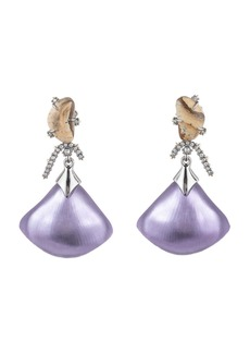 Alexis Bittar Crystal Maze Fan Dangle Earrings w/ Fancy Stone  Purple