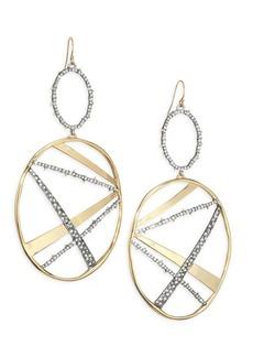 Alexis Bittar Elements Plaid Crystal & 10K Yellow Gold Drop Earrings