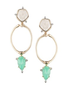 Alexis Bittar Elements Swarvoski Crystal, White Druzy & Chrysoprase Drop Post Earrings