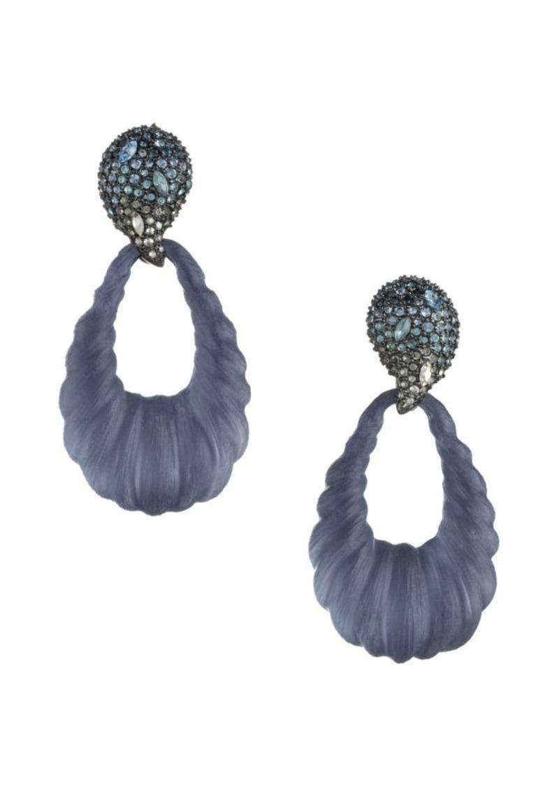 Alexis Bittar Frosted Swarovski Crystal Ombré Paisley Rope Teardrop Earrings