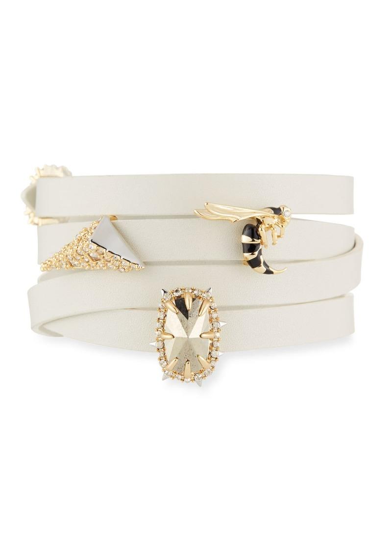 Alexis Bittar Leather Wrap Bracelet w/Golden Stations