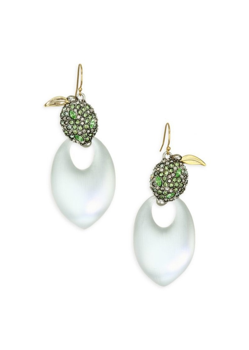Alexis Bittar Lucite Crystal Encrusted Lime Drop Earrings