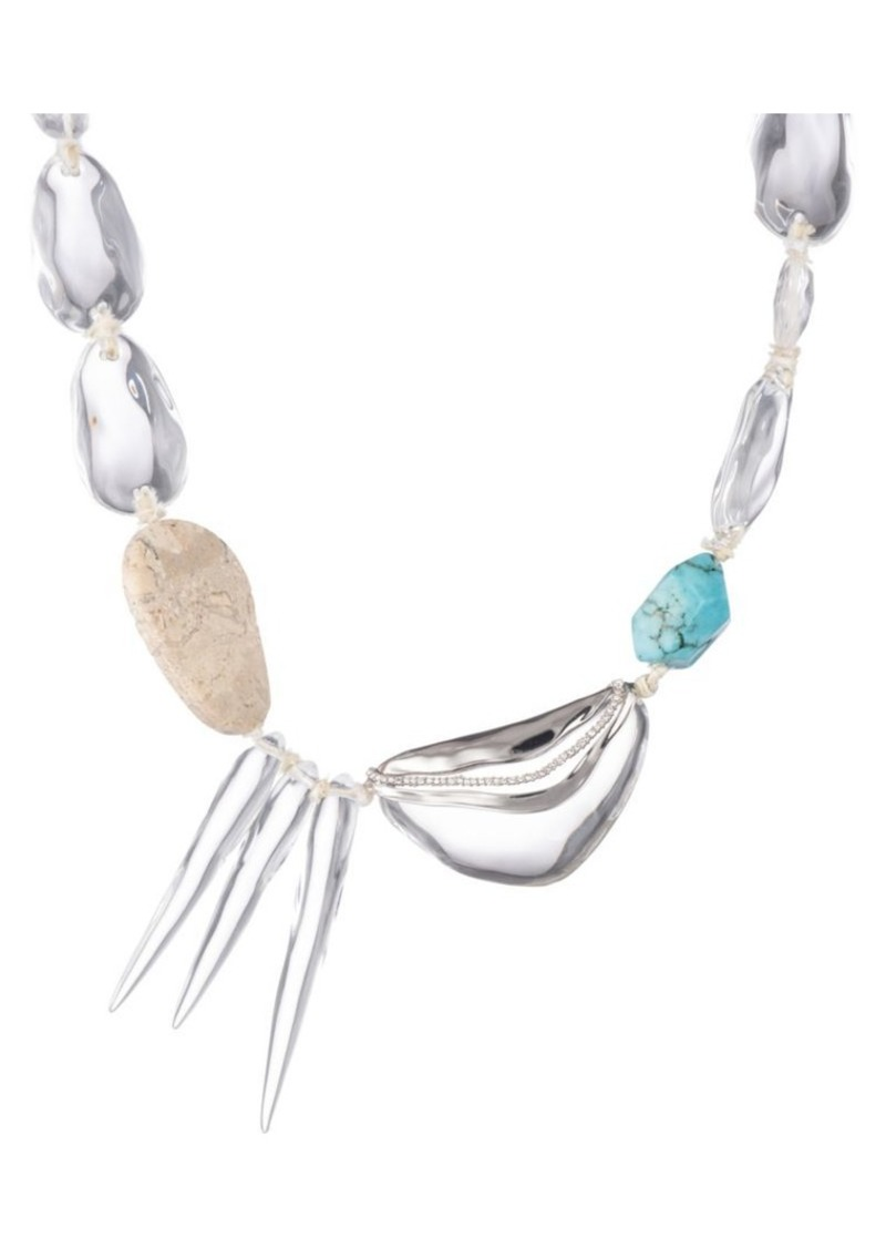 Alexis Bittar Metallic Maji Multi-Stone Crystal Wave Spiked Pebble Necklace