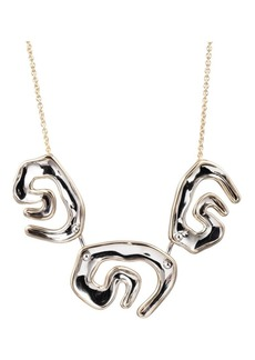 Alexis Bittar Metallic Maji Two-Tone Sculptural Bib Necklace