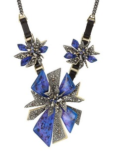 Alexis Bittar Mixed Metal Necklace with Leather and Crystals