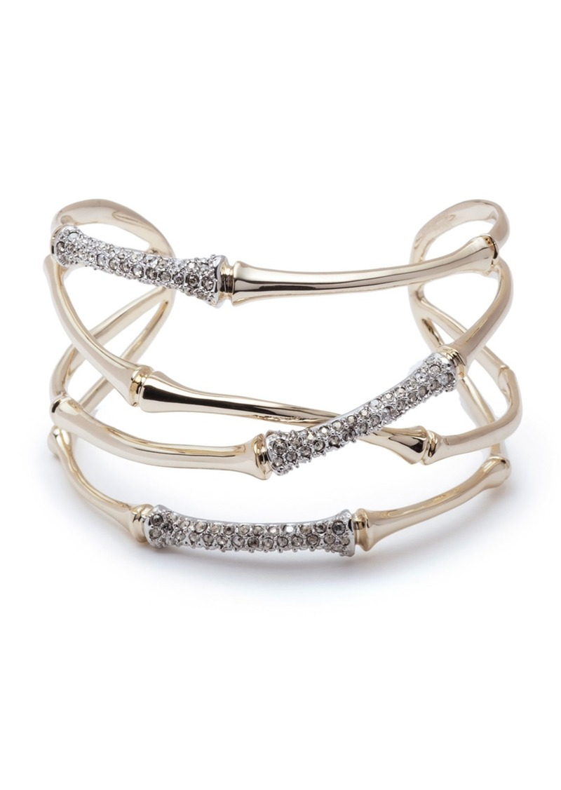 Alexis Bittar Orbiting Bamboo Crystal Encrusted Cuff Bracelet