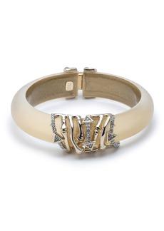 Alexis Bittar Orbiting Bamboo Crystal Encrusted Hinge Bracelet  Gold