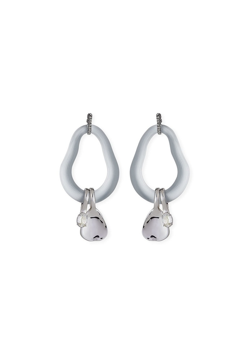 Alexis Bittar Organic Link Earrings w/ Crystal Drops  Silver