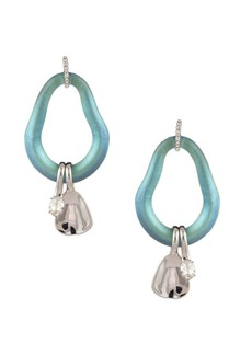 Alexis Bittar Organic Link Post Rhodium & Crystal Drop Earrings