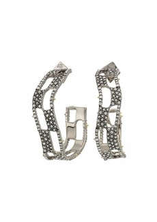 Alexis Bittar Pave Checkerboard Hoop Earrings