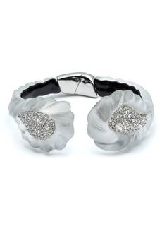 Alexis Bittar Rhodium Plated Pave Crystal Rope Hinged Bracelet