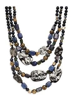 Alexis Bittar Rhutenium-Plated Multi-Stone Beaded Layered Necklace