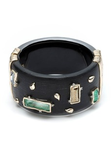Alexis Bittar Stone and Paisley Studded Wide Retro Hinge Bracelet  Black