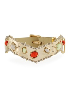 Alexis Bittar Stone Cluster Buckle Leather Bracelet