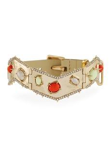 Alexis Bittar Stone Cluster Buckle Leather Bracelet