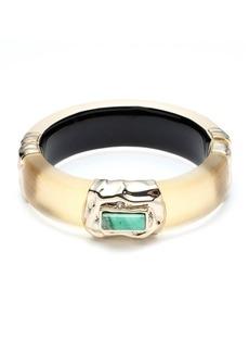 Alexis Bittar Stone Studded Crumpled Hinge Bracelet  Gold