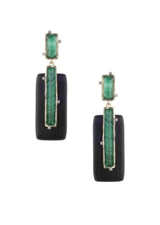 Alexis Bittar Swarovski Crystal & Multi-Stone Studded Retro Clip Earrings