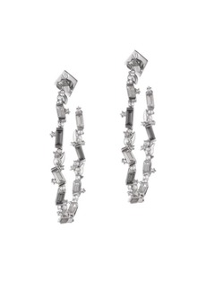 Alexis Bittar Swarovski Crystal Baguette Hoop Earrings