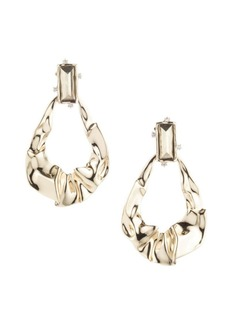 Alexis Bittar Swarovski Crystal Crumpled 10K Gold & Rhodium Dangling Post Earrings