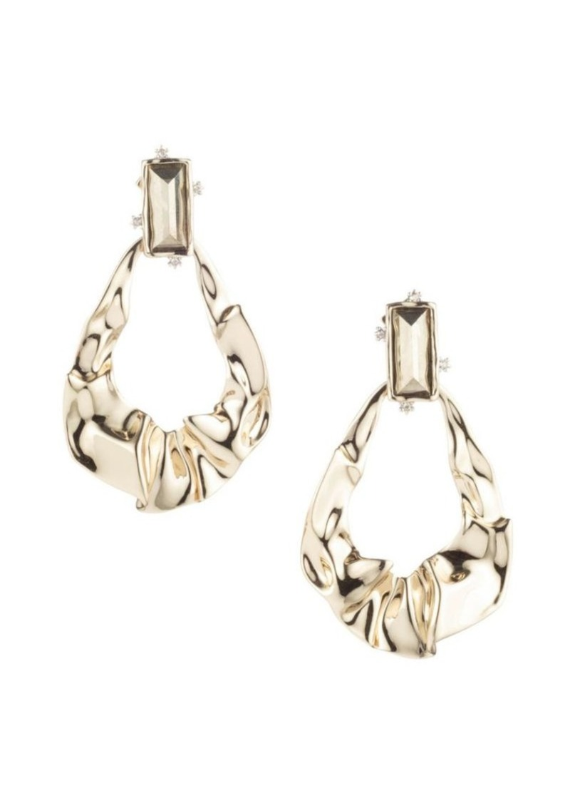 Alexis Bittar Swarovski Crystal Crumpled 10K Gold & Rhodium Dangling Post Earrings