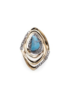Alexis Bittar Synthetic Turquoise & Crystal Spiral Cocktail Ring