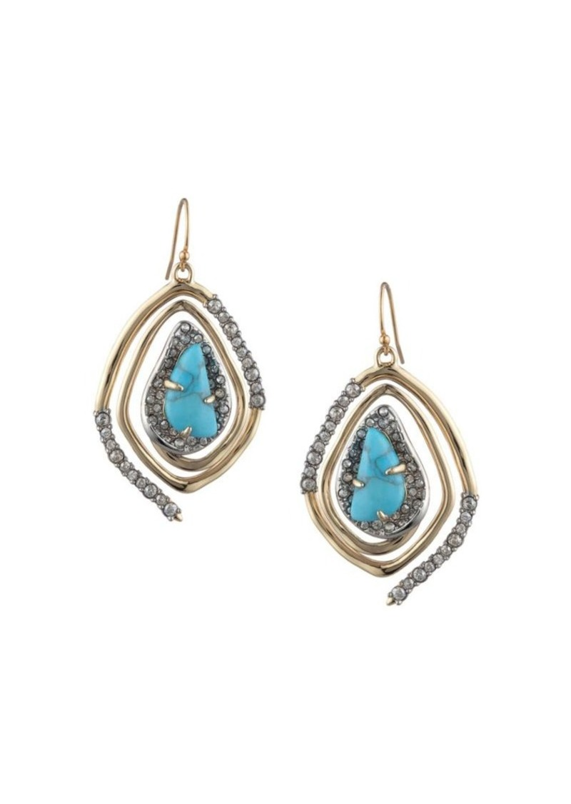 Alexis Bittar Synthetic Turquoise & Crystal Two-Tone Spiral Drop Earrings