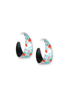 Alexis Bittar Tulip-Print Wide Graduated Hoop Earrings