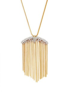Alexis Bittar Two-Tone & Crystal Tassel Pendant Necklace