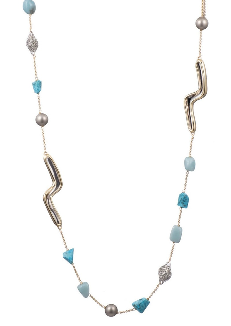 Alexis Bittar Two-Tone Sculptural Station Necklace