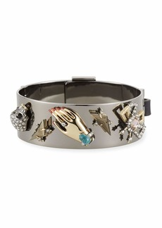 Alexis Bittar Vanitas Leather Buckle Hinge Bracelet