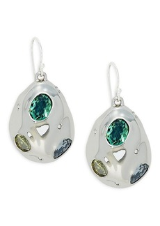 Alexis Bittar White Rhodium Plated & Crystal Dangle Earrings