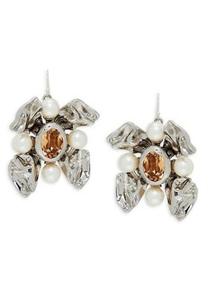 Alexis Bittar White Rhodium Plated, Crystal & Faux Pearl Earrings