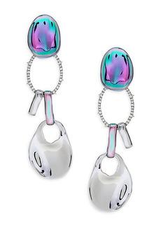 Alexis Bittar White Rhodium, PVD & Crystal Dangle Drop Earrings