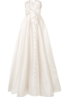 Alexis Mabille Bow-detailed Embellished Satin-twill Gown